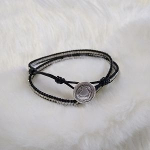 NWOT Black Wrap Bracelet with Silver Beads